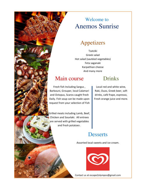 Menu summary for Taverna Sunrise at Agios Minas beach